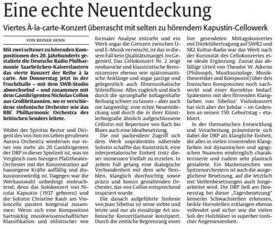 Christine Rauh in daily newspaper Rheinpfalz