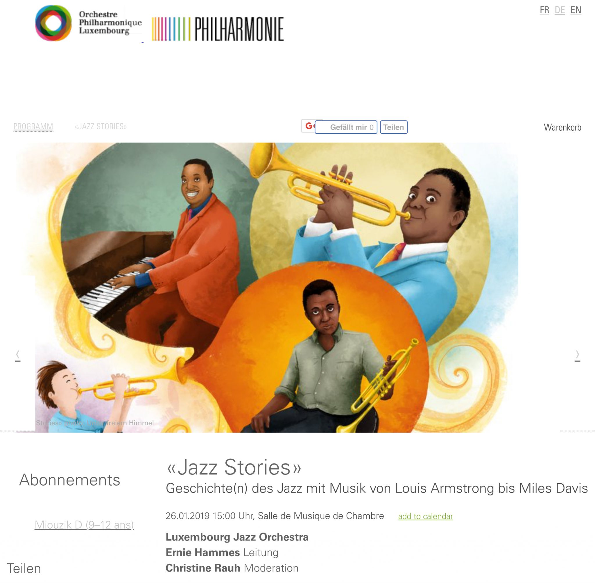 """Jazz Stories"" moderated concert for children"